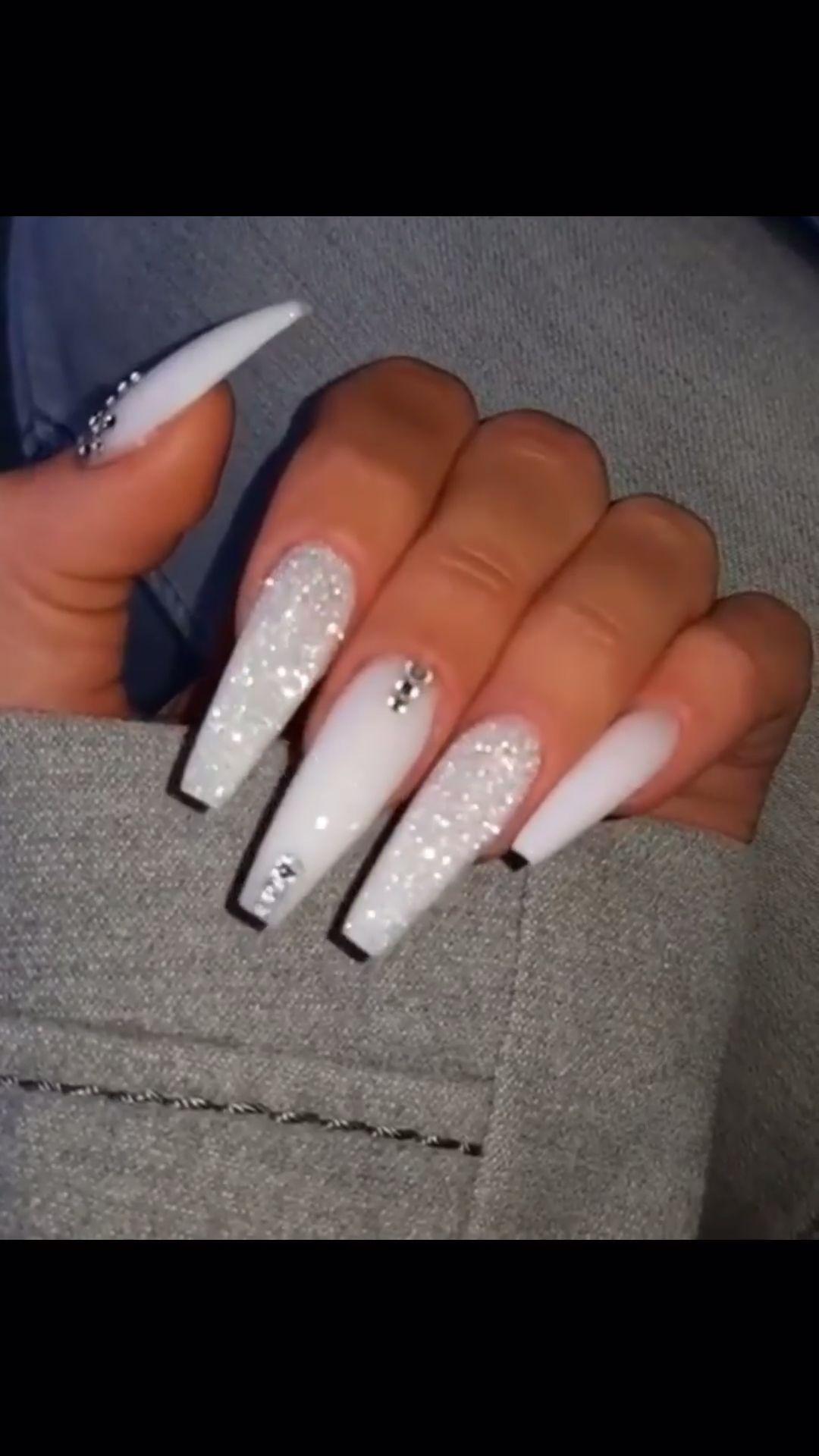 Pinterest Gxoxo Video Best Acrylic Nails Nails Design With Rhinestones White Acrylic Nails
