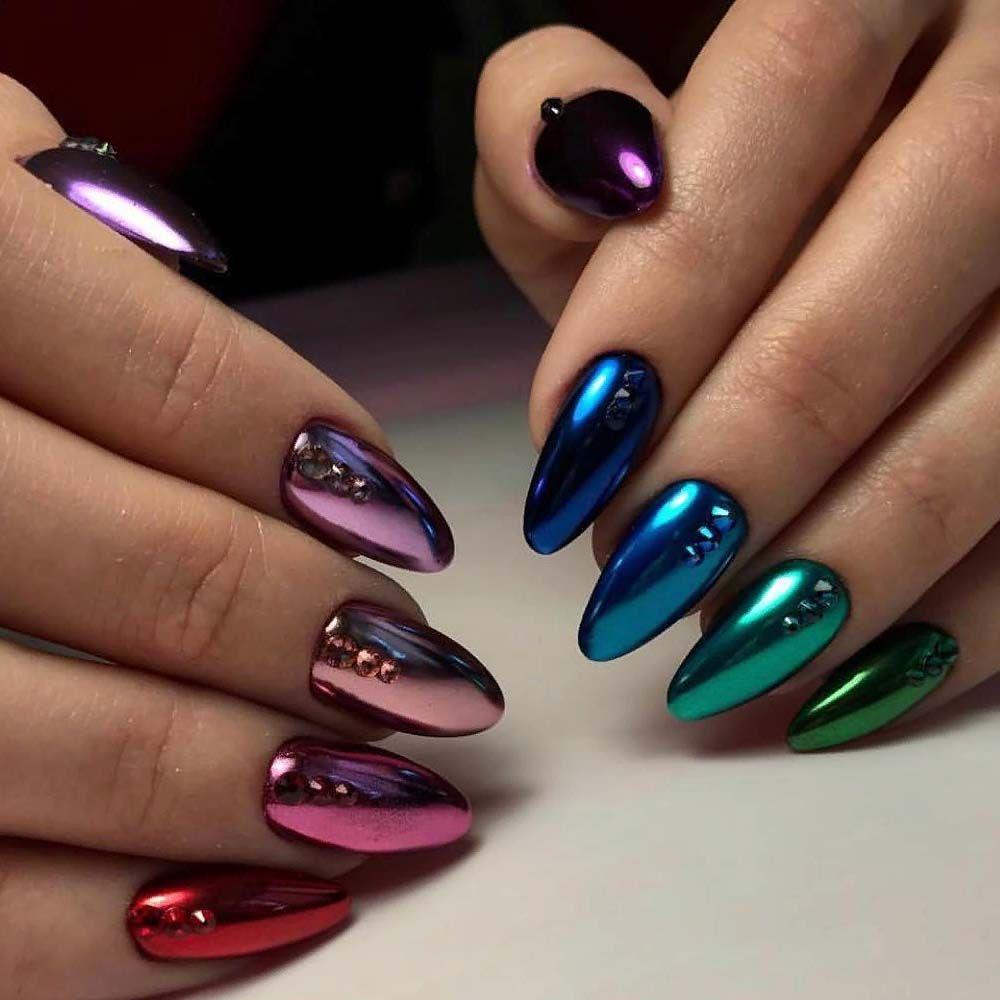 Matalic Nail Art Is Just Awsome Trend Of 2019 Duhove Nehty Design Nehtu Gelove Nehty