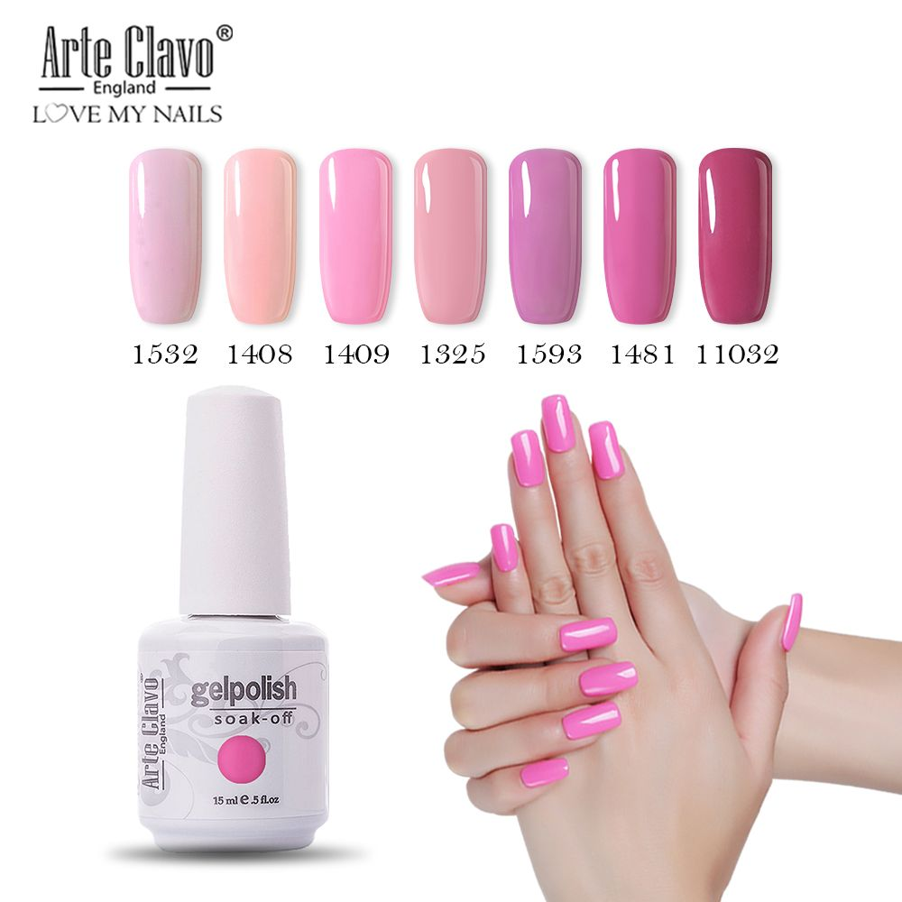 2019 New 15ml Soak Off Uv Gel Nail Polish Pink Gel Polish Gellak Hybrid Uv Semi Permanent Gelpolish Esmalte Gel Varnish