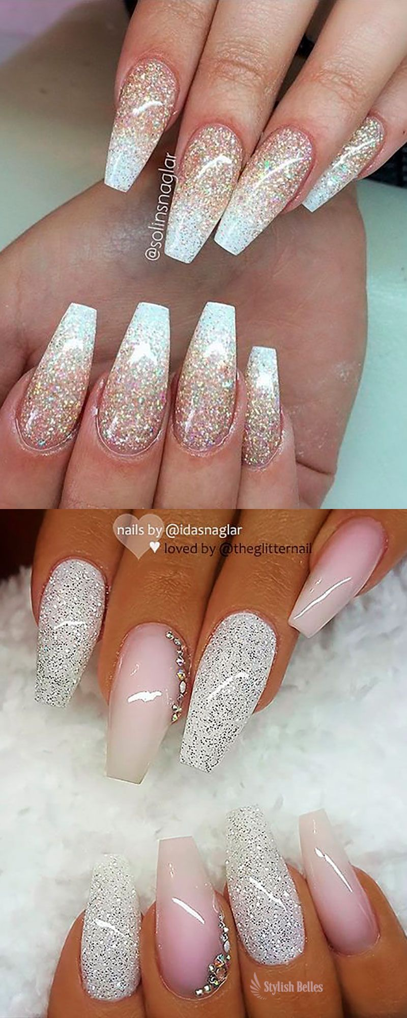 Gorgeous Ombre Glitter Coffin Nails Ideas Gelove Nehty Nehty Ombre