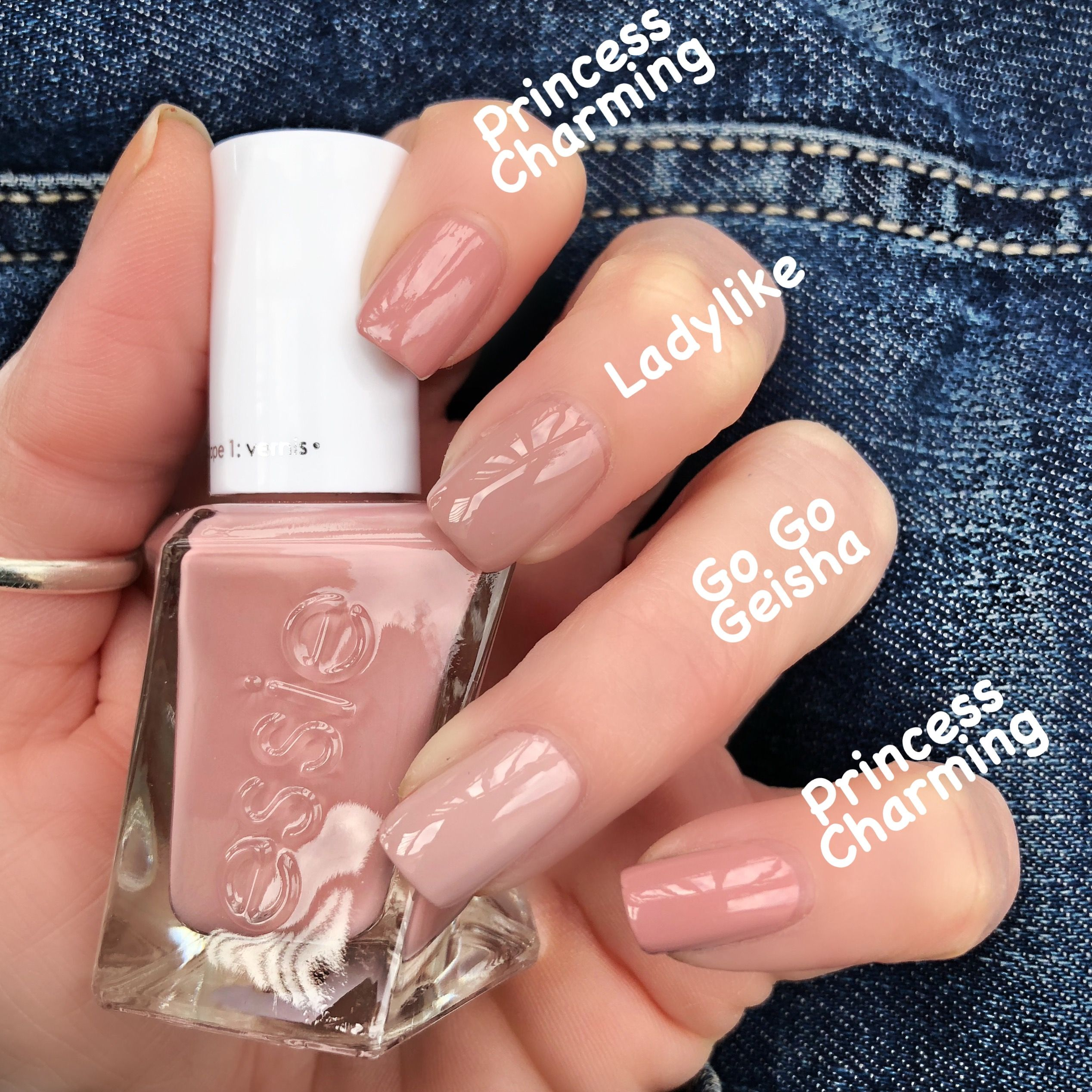 Comparison Swatches To Essie Princess Charming From The Enchanted Gel Couture Line Instagram Livwithbiv Gelove Nehty Nehty Lak Na Nehty