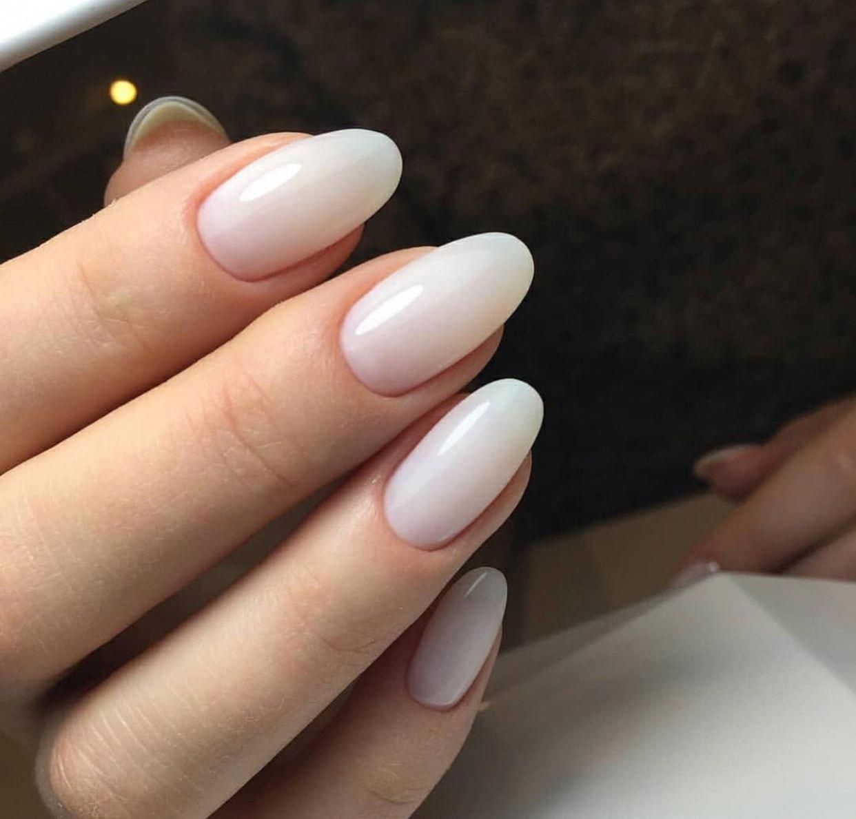 Faded French Nails Matte Frenchnailswedding Natural Nails Oval Nails Manicure