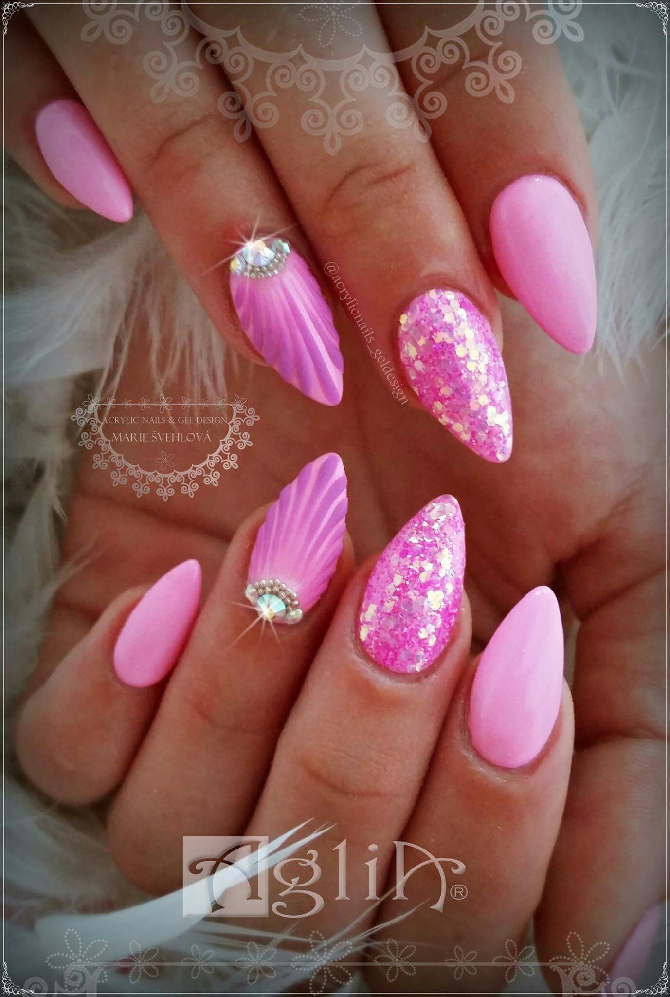 Acrylic Nails Gel Design Pink Nails Shell Nail Design With Images Gelove Nehty Nehty Ruzove Nehty