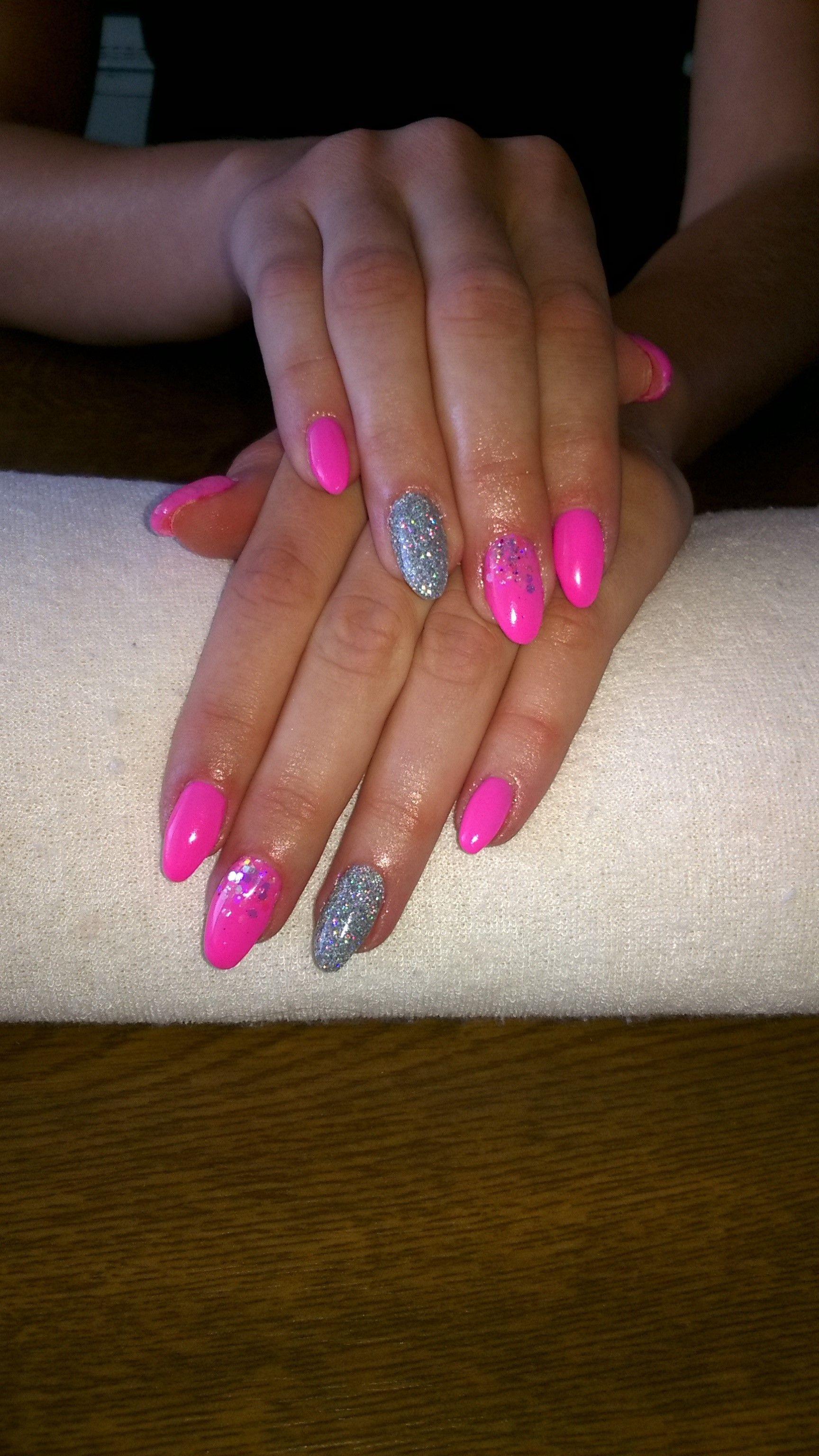 Neon Pink Gel Silver Glitter Silver Glitter Neon Pink Pink