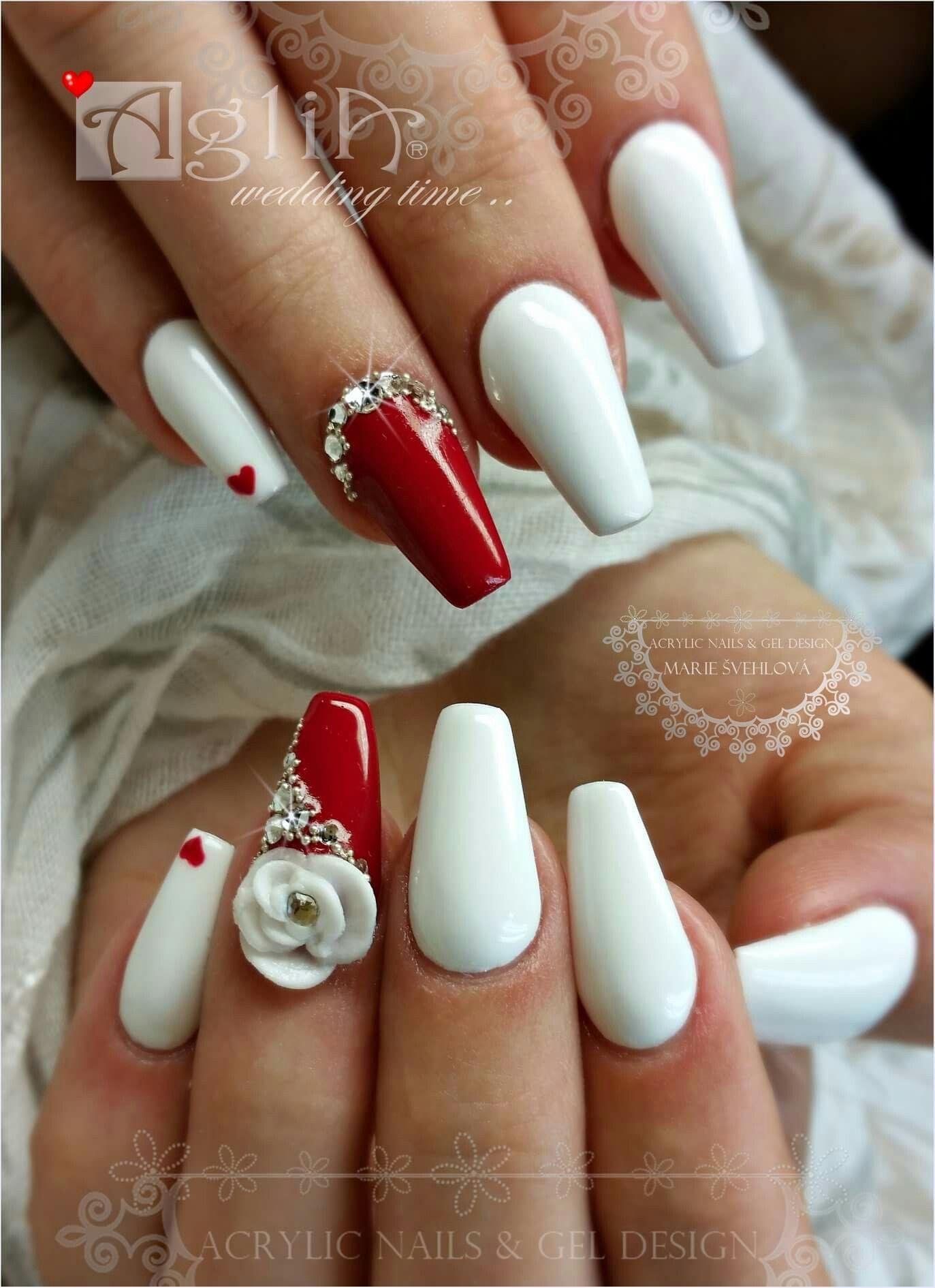 Acrylic Nails Gel Design Wedding Nails Red White Nails Nehty