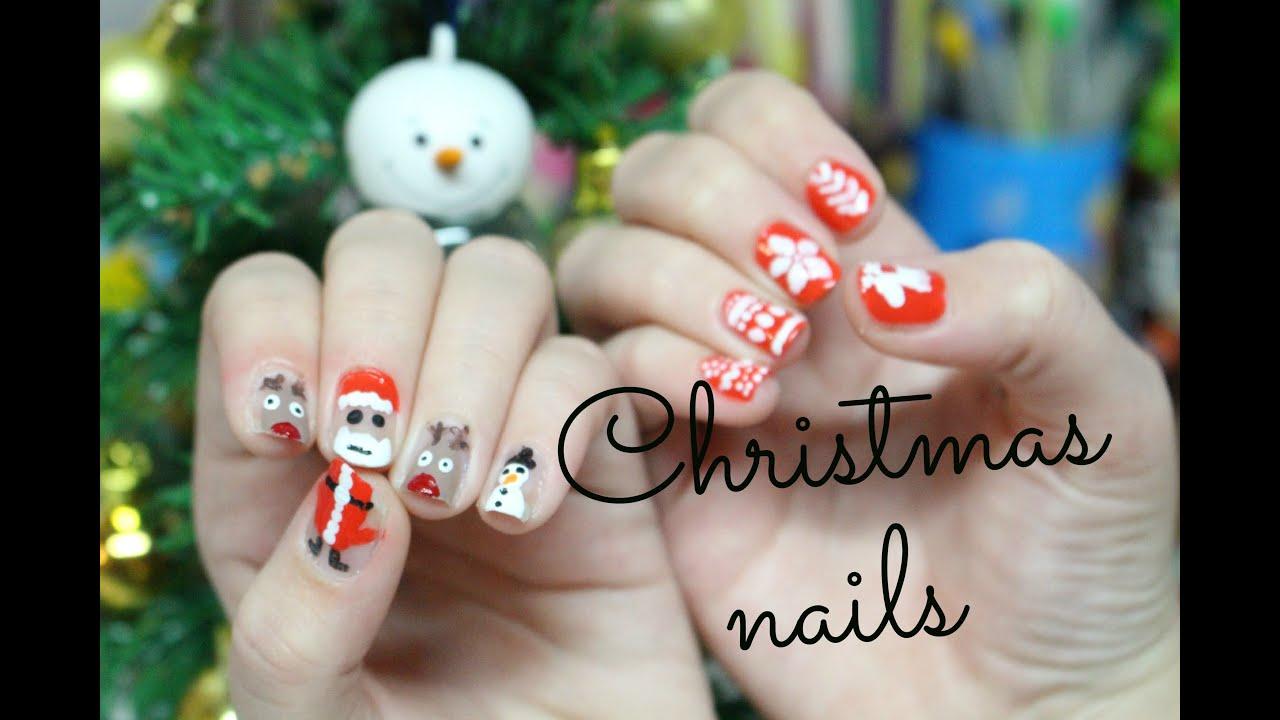 Tutorial Vanocni Nehty Christmas Nails Youtube