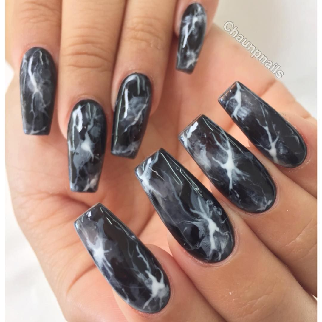 Chaun P On Instagram A Closer Black Smoke Marble Nails Nail Designs Trendy Nails