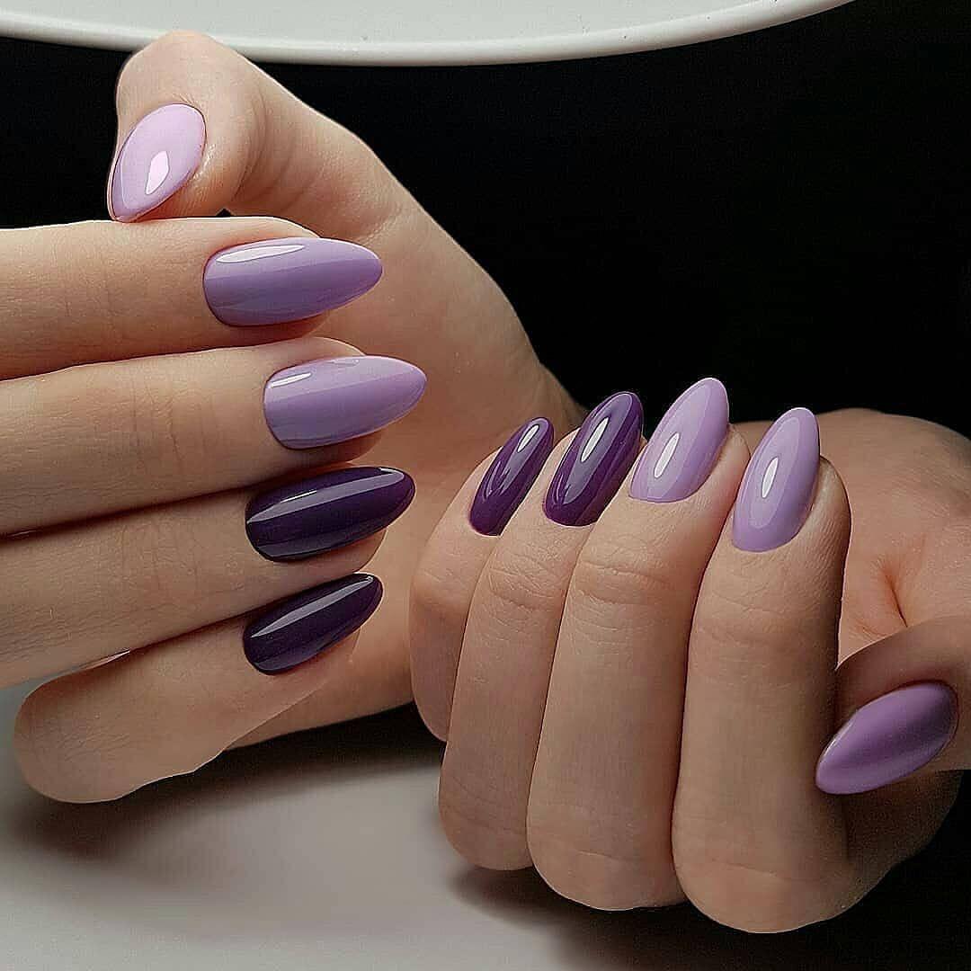 17 Elegant Purple Almond Nails Fialove Nehty Design Nehtu A Gelove Nehty