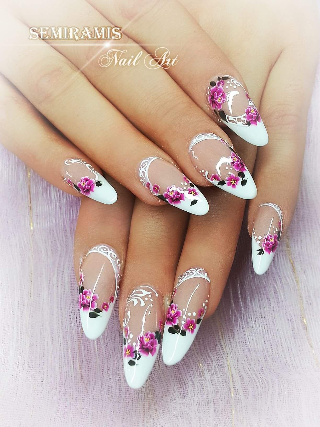 Gel French Nails Flower Water Stickers White Lines Gelove Nehty Nehty Letni Nehty