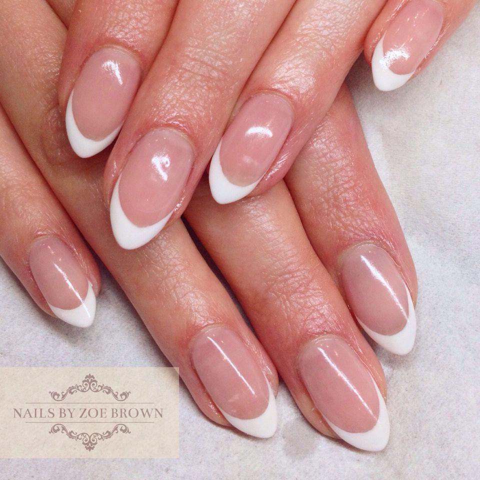 Cnd Shellac French Manicure Almond Shape Nails Francouzska Manikura Nehty Manikura