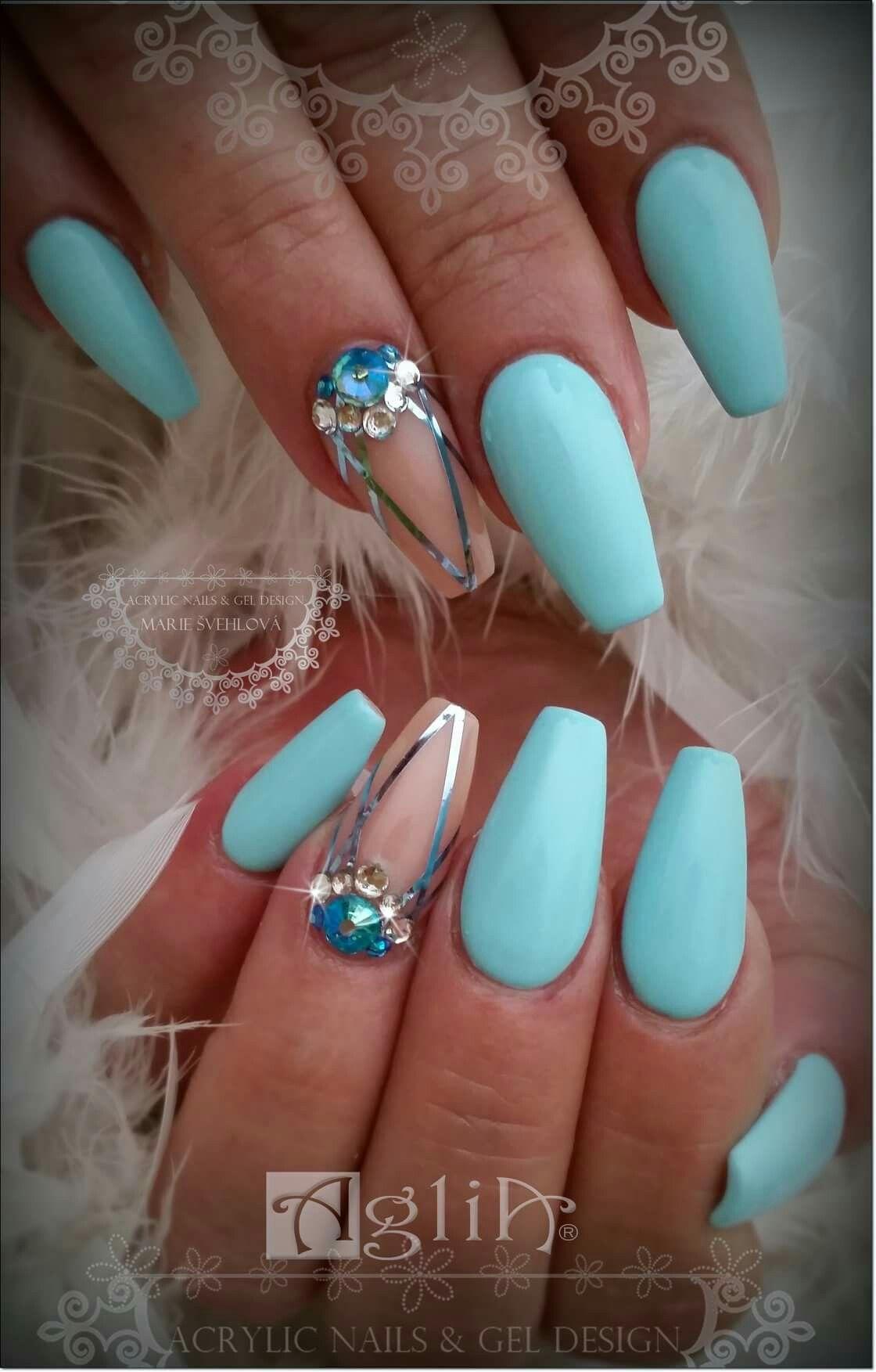 Acrylic Nails Gel Design Summer Nails Modre Nehty Nehet Gelove Nehty