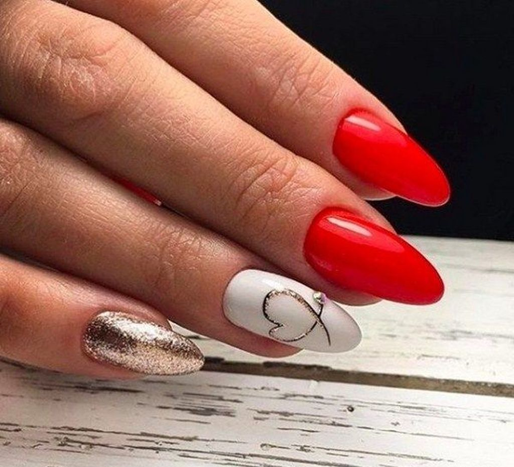 50 Cute Red Nails Art For Your Valentines Day Gelove Nehty Akrylove Nehty Nehty