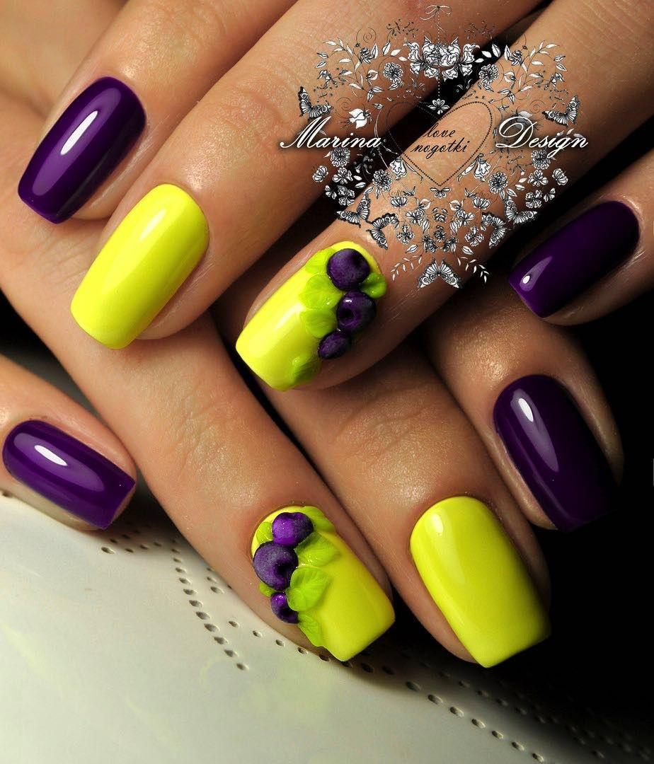 20 Skvelych Inspiracii Na Letne Nechty Ktore Si Zamilujete Yellow Nails Purple Nail Designs Yellow Nail Art