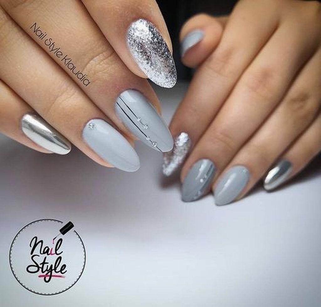 37 Pretty Nail Designs Ideas For Spring Winter Summer And Fall Stribrne Nehty Modre Nehty Design Nehtu