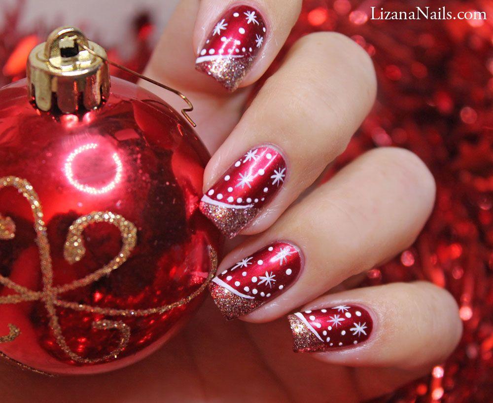 Christmas Nail Design With Images Cervene Nehty Gelove Nehty Design Nehtu