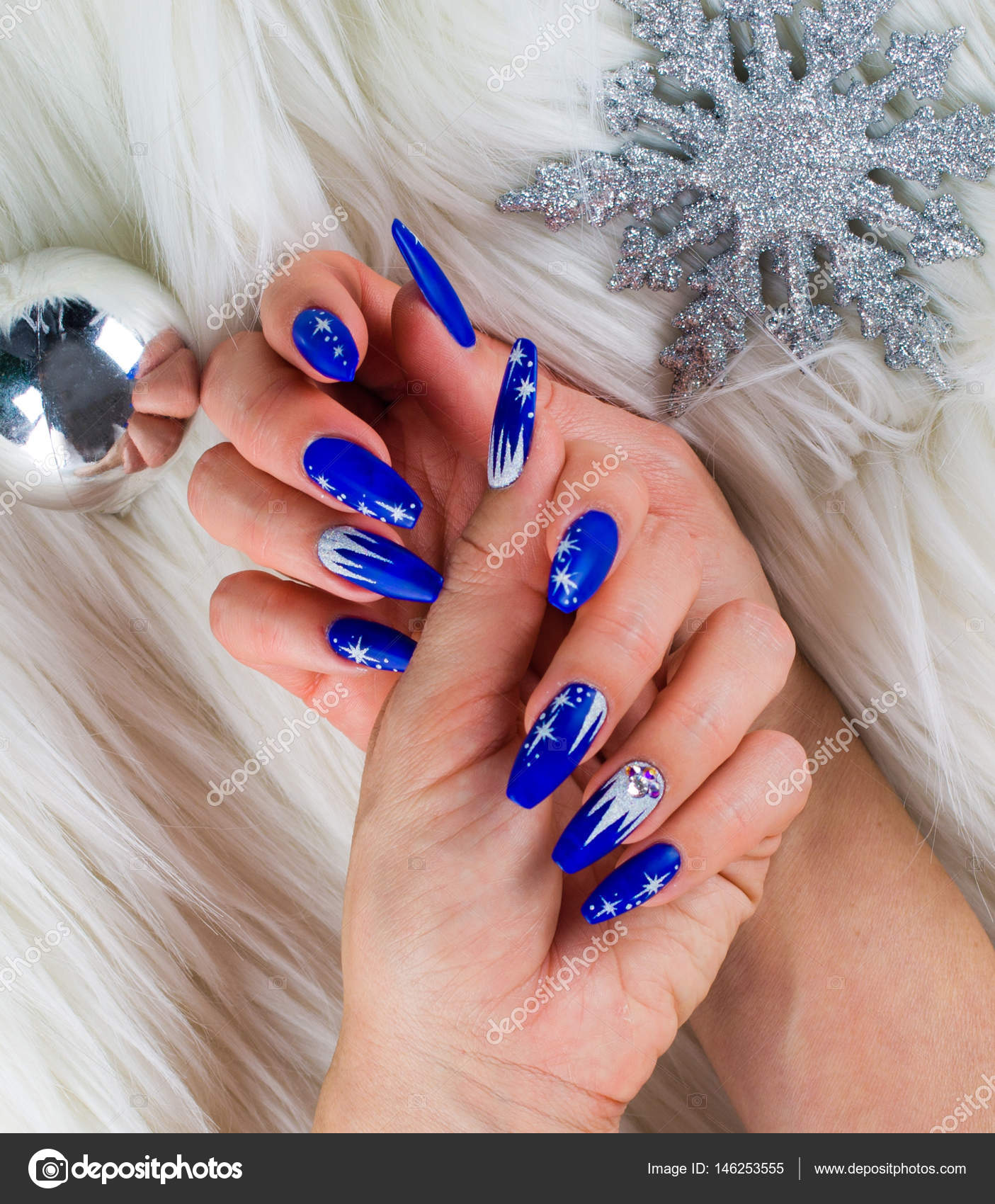 Christmas Blue Nails Stock Photo C Pmmart 146253555