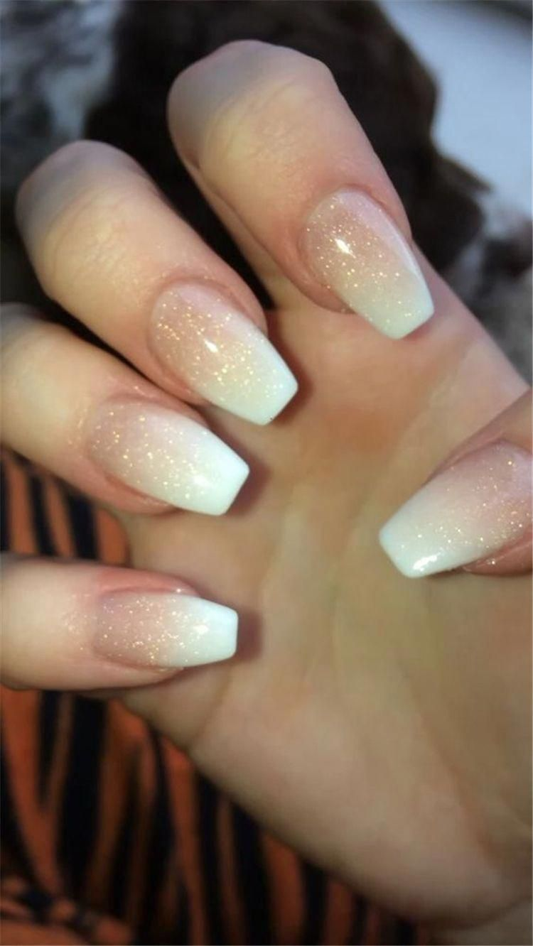 French Ombre Nails With Gold Glitter Baby Boomer Coffin Nails Ombre Nails Acrylic Nails Ombrenail