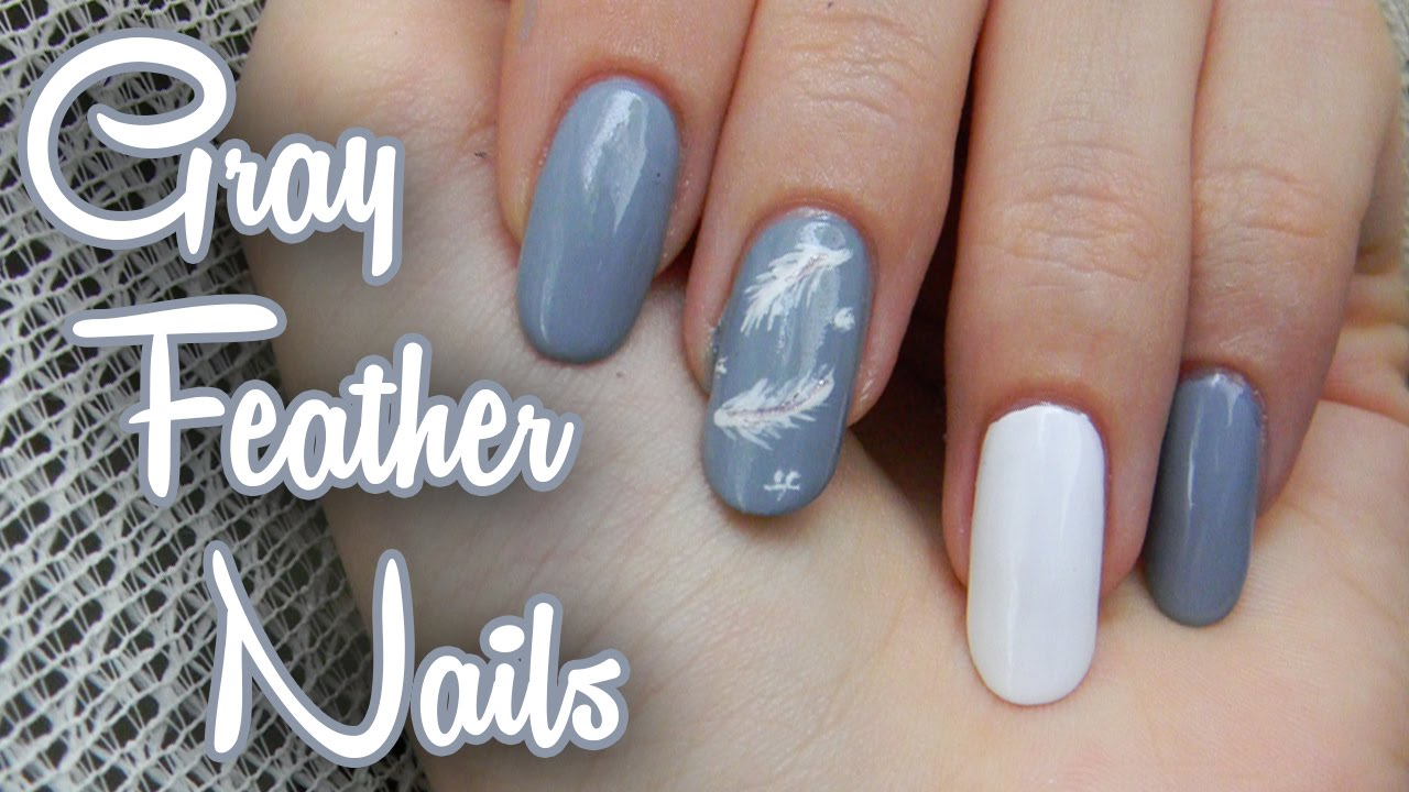 Sive Nechty S Pierkami Gray Feather Nails Youtube