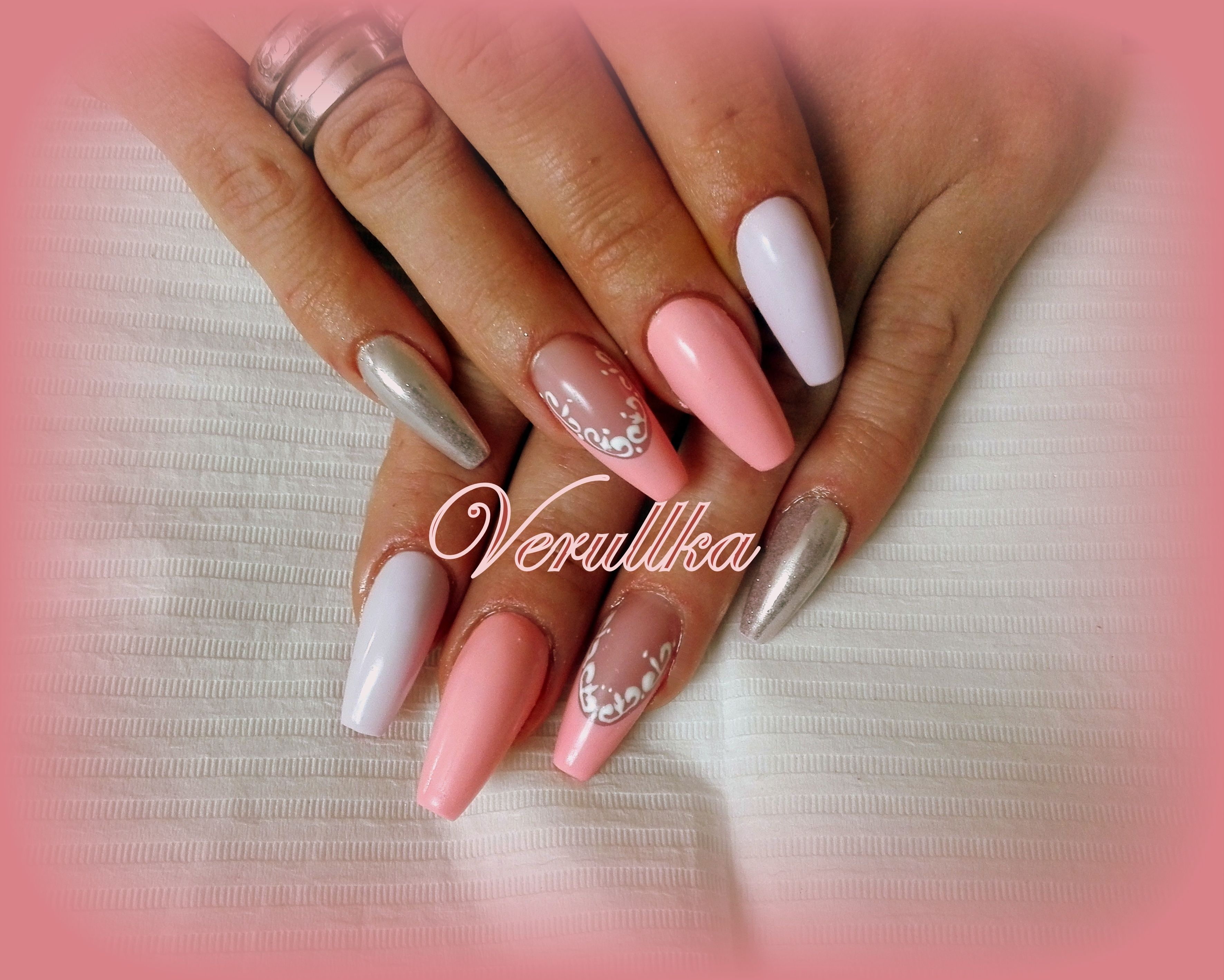 Peach Or Salmon Gel Nails With Decorated French Manicure