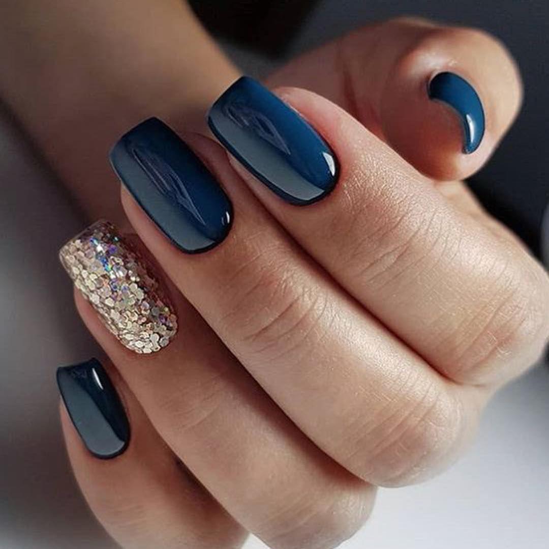 Beautiful Blue And Sparkly Silver Modre Nehty Umele Nehty Gelove Nehty