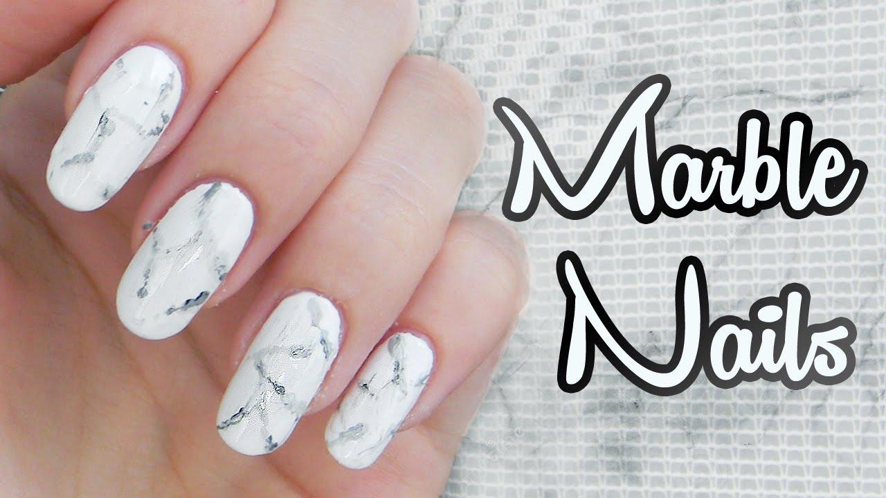 Tutorial Mramorove Nechty White Stone Marble Nails Youtube