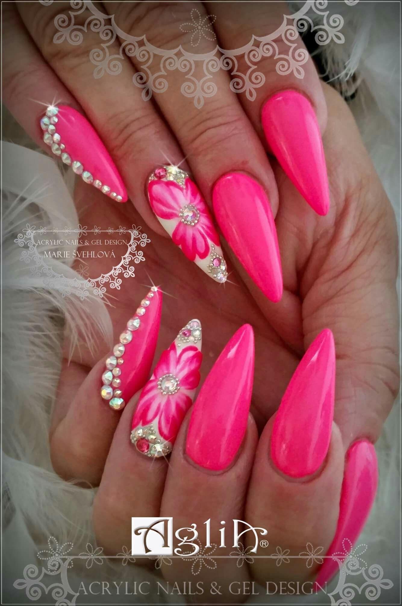 Acrylic Nails Gel Design Pink Nails Neon Pink Neon Pink Nails Pink Nails Pink Nail Designs