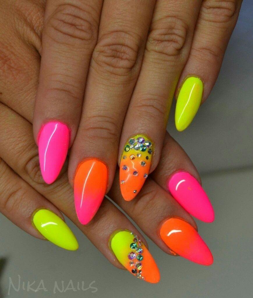 Geel Roze Ombre Oranje Roze Neonove Nehty Gelove Nehty Design Nehtu