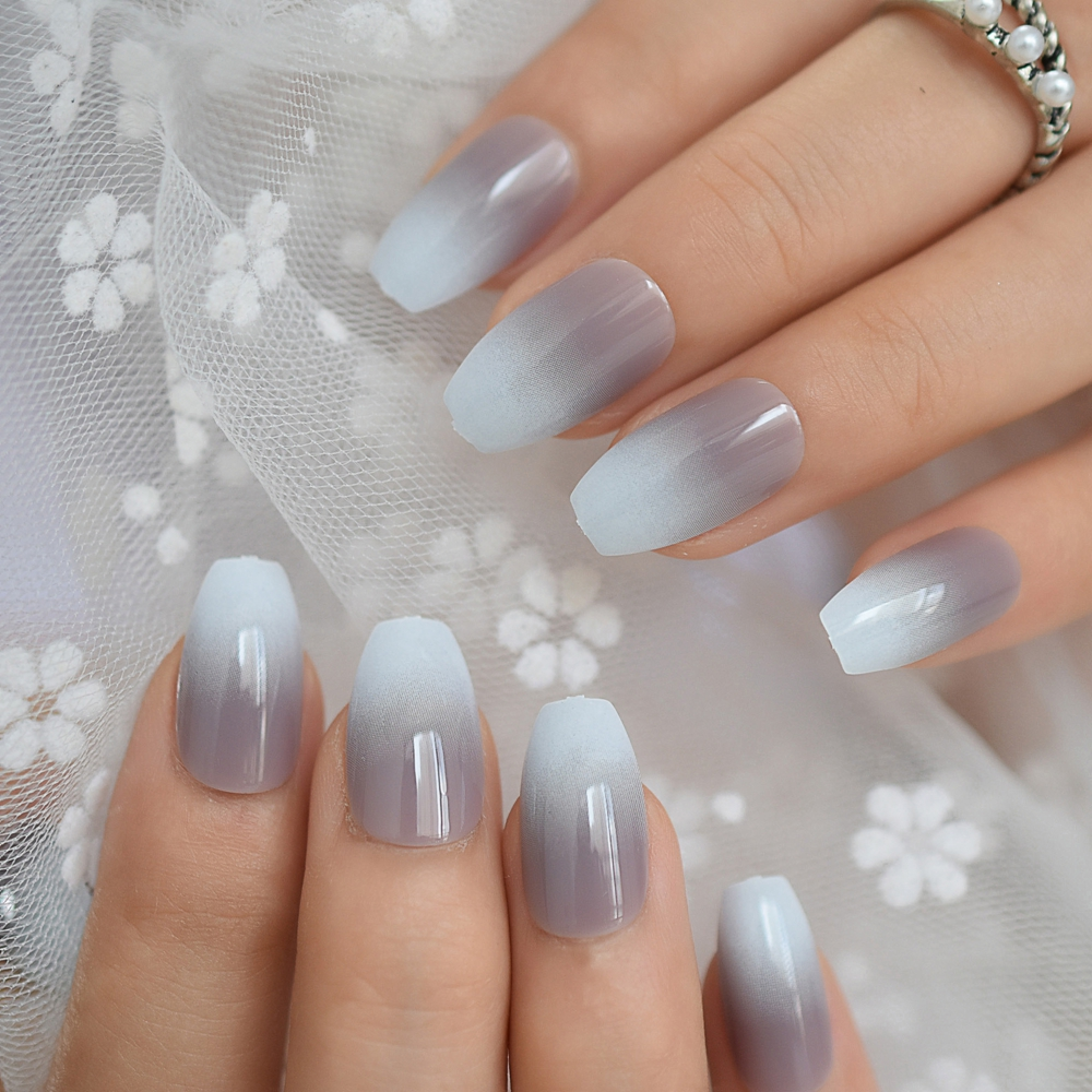 24pcs Ballerina Ombre French Fake Nails Gradient Gray Coffin Flat Artificial False Nail Tips For Office Home Faux Ongle Sticker False Nails Aliexpress