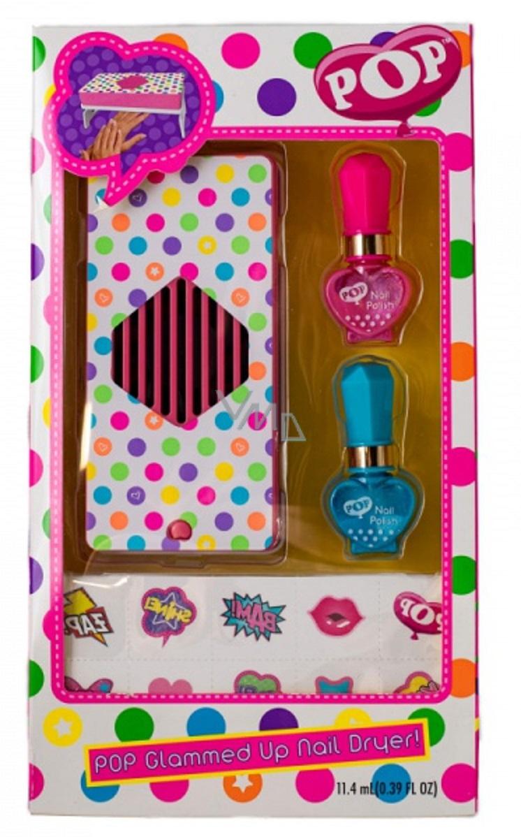 Pop Girls 2x Lak Na Nehty Pro Deti 11 4 Ml Vysousec Nalepky Kosmeticka Sada Vmd Drogerie A Parfumerie