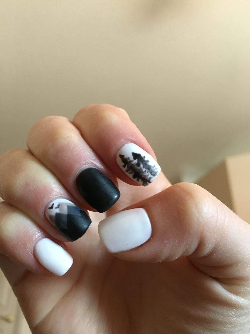 Mountain And Pine Tree Silhouette Nails White And Black Mate Silhouette Nails Tree Nails Tree Nail Art