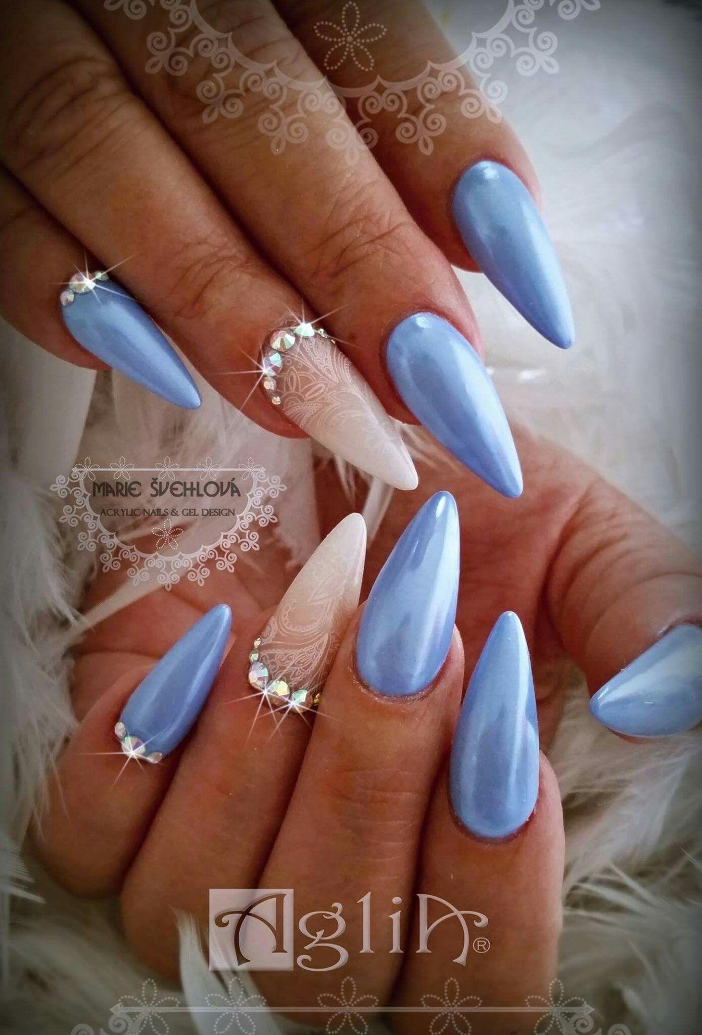 Acrylic Nails Gel Design Blue Nails Nehty Design