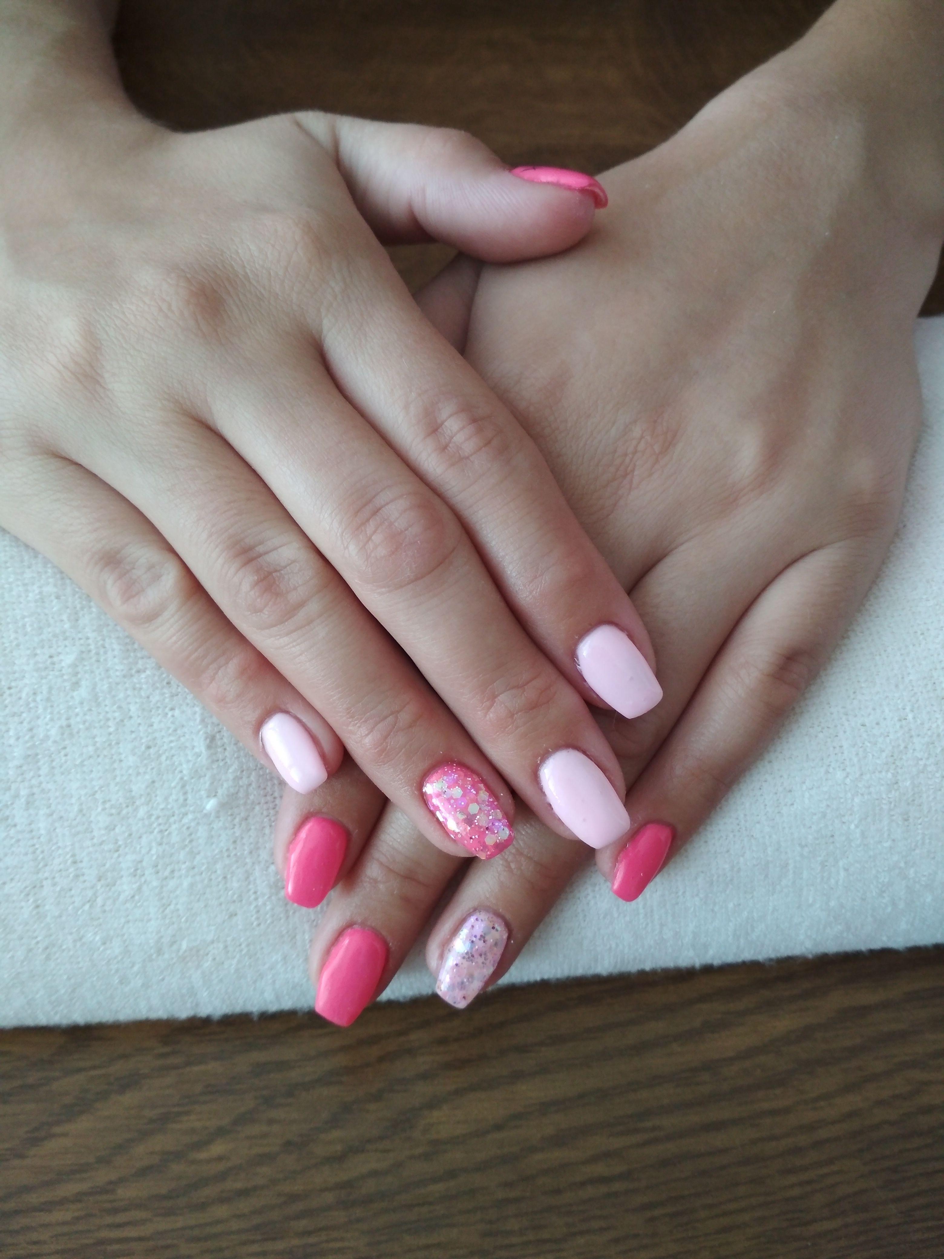 Pink Gels Glitter Nails Glitter Gel
