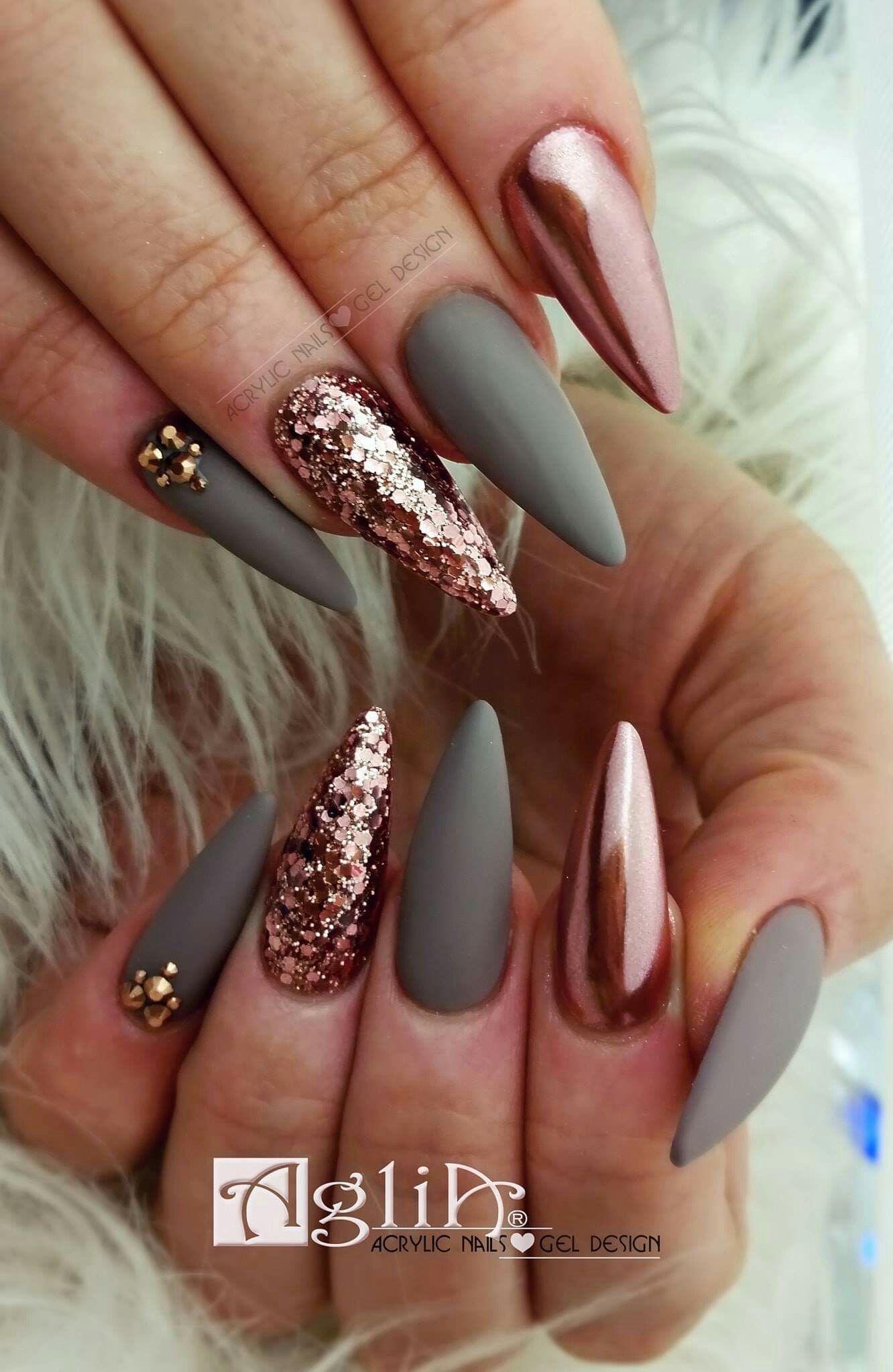 Acrylic Nails Gel Design Matte Nails Chrome Rose Gold Nehty