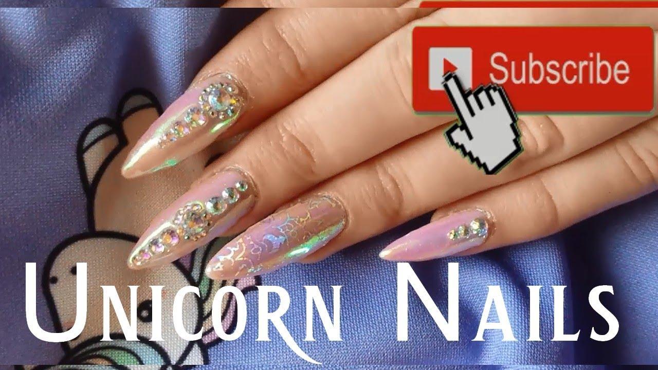 Navod Na Unicorn Aurora Trpytive Nehty S Kaminky Youtube
