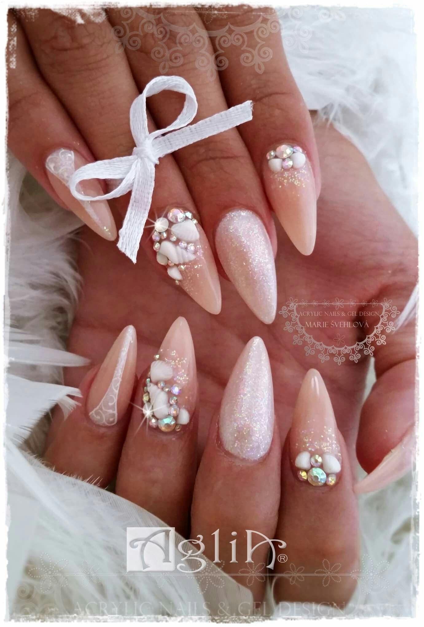 Acrylic Nails Gel Design Shell Nails Wedding Nails