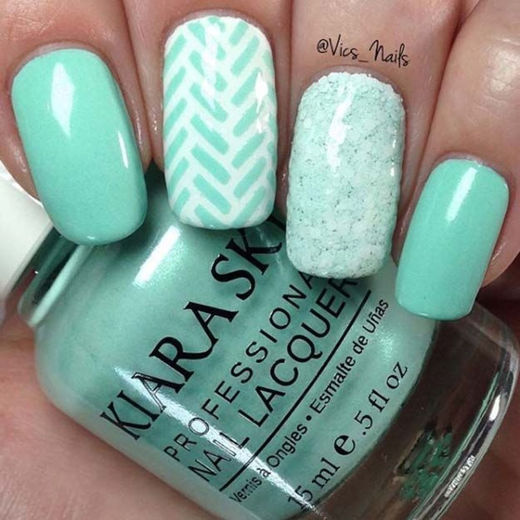 Trendy Mint Nail Designs For Summer38 Mint Nail Designs Summer Acrylic Nails Mint Nails