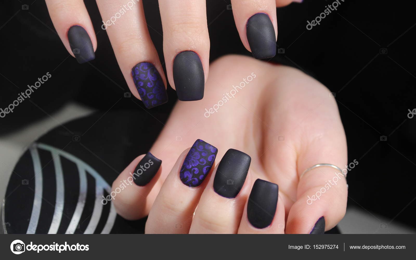 Design Of Manicure Matt Black And Blue Nails Stock Photo C Smirmaxstock 152975274