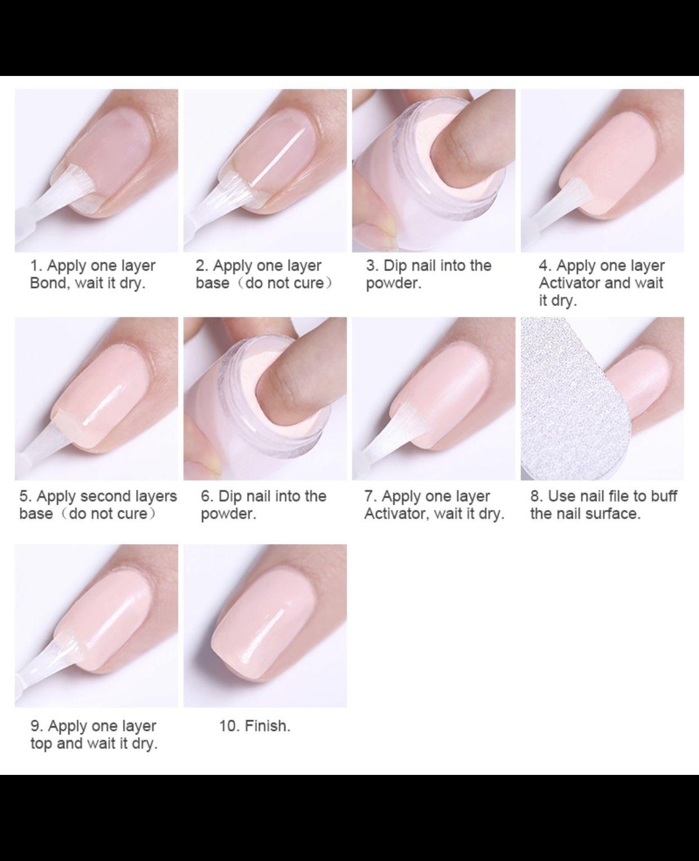 Diy Dip Powder Instruction Dipped Nails Acrylic Dip Nails Diy Acrylic Nails
