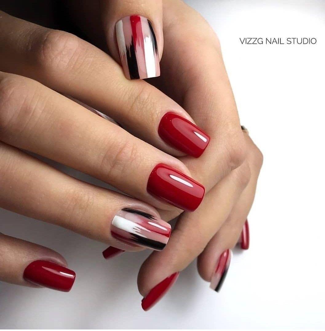 Pin By Naninails On Red Nails Nail Art Cervene Nehty Gelove Nehty Nehet