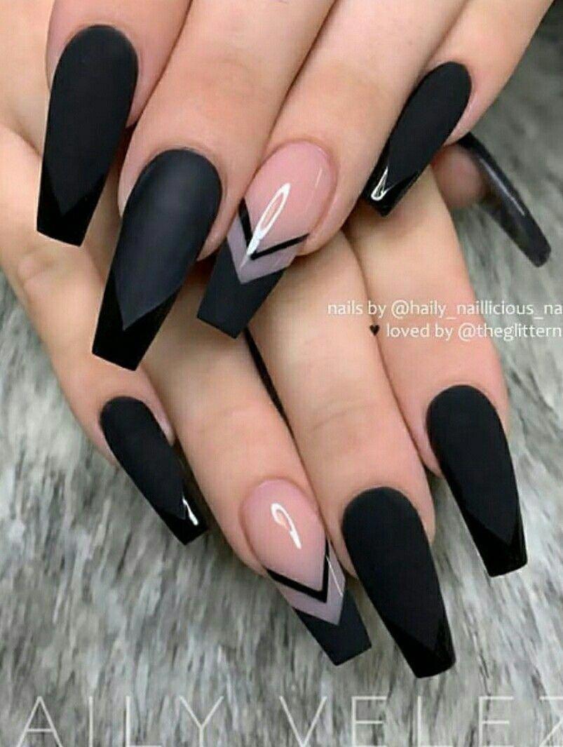 Cute Black Coffin Nails Design Coffinnails Nage In 2020 With Images Design Nehtu Gelove Nehty Barevne Nehty