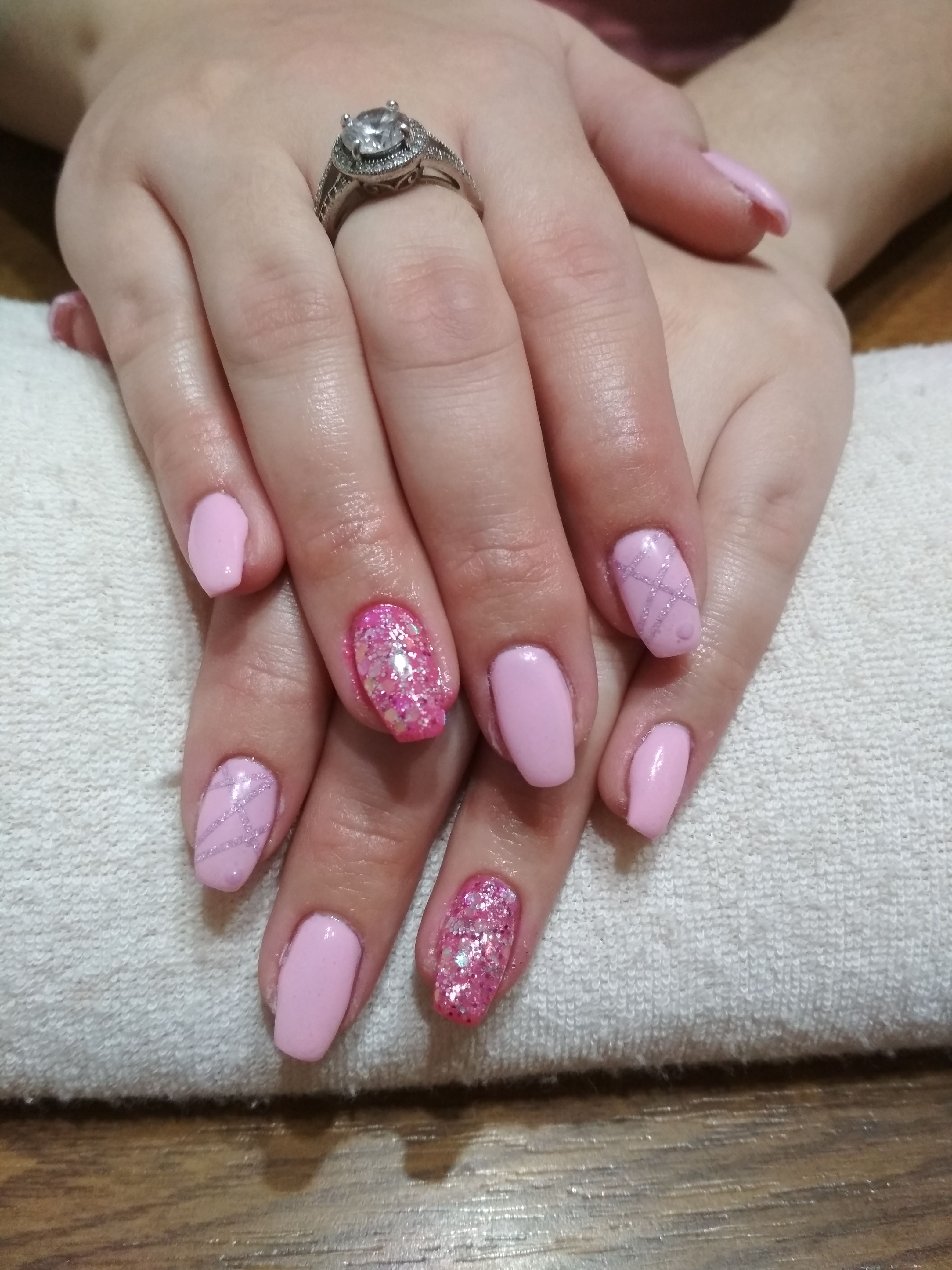 Pink Gel And Glitter And Purple Stripes Gelove Nehty Nehty