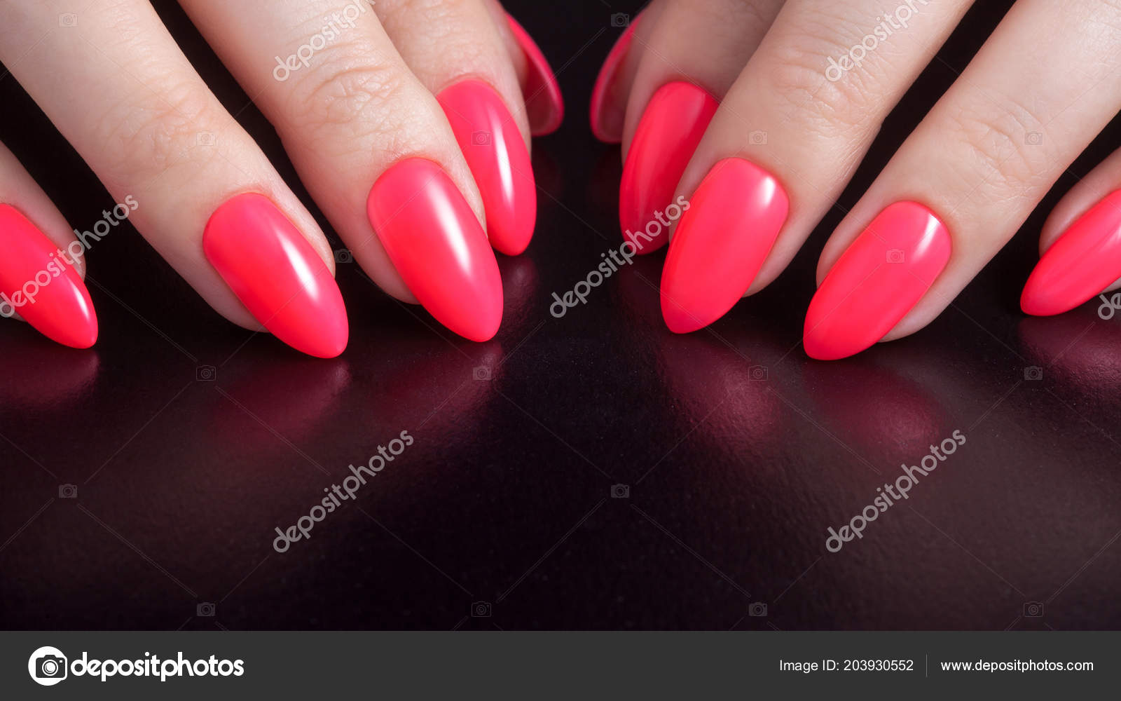 Women S Hands With Perfect Red Manicure Nail Polish Red Coral Color Black Background Stock Photo C Kriscole 203930552