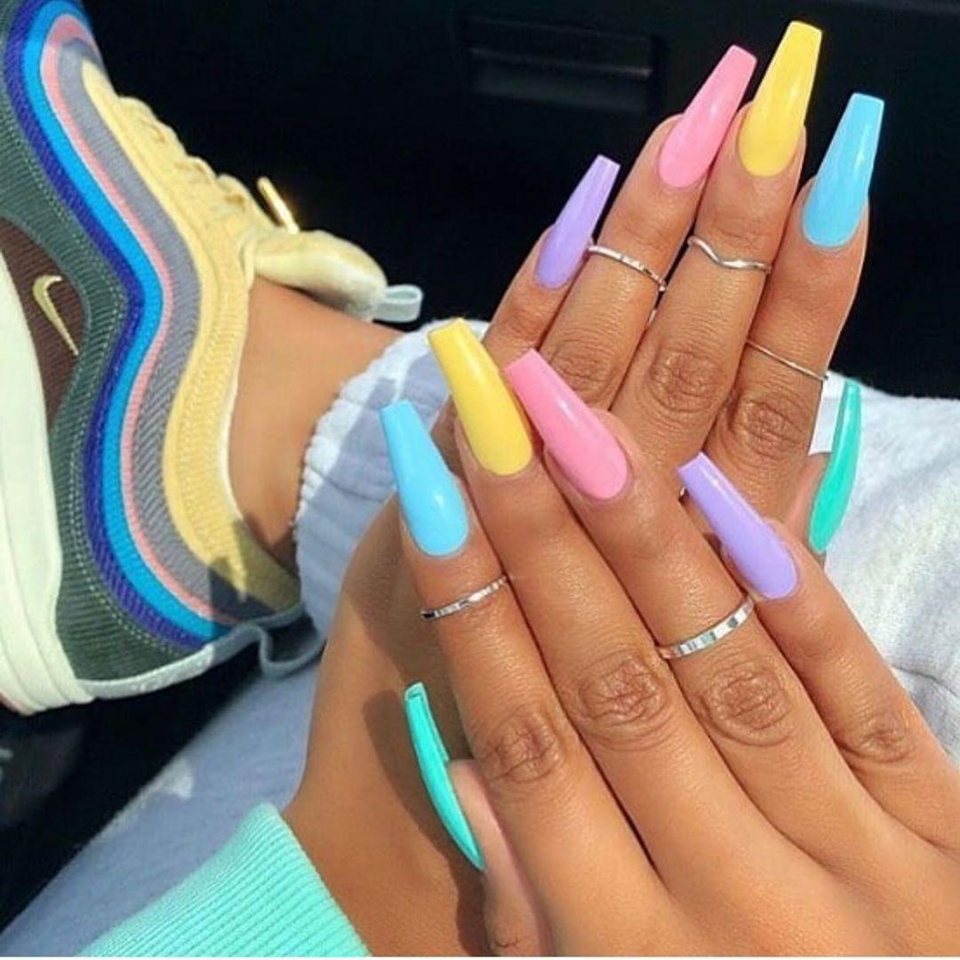 Cute Multi Color Summer Acrylic Nails Coffin 2019 Barevne Nehty Gelove Nehty A Nehet
