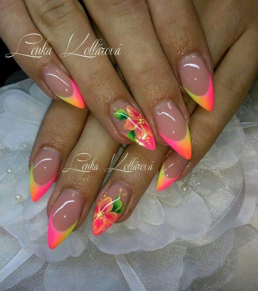 Neon Nails By Lenka Kollarova With Images Gelove Nehty Design Nehtu Nehty