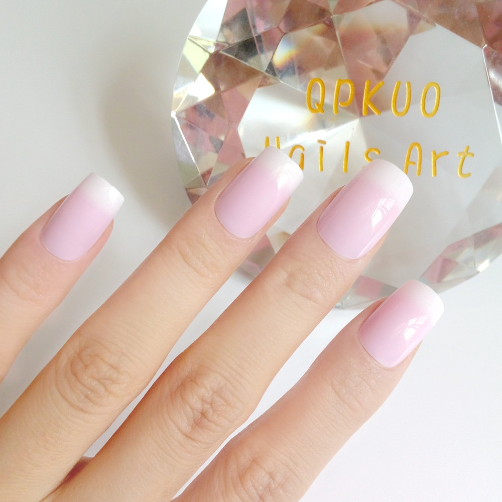 24 Pcs Mediun Artificial Fake Nails Pink French Nails Tips Lady Finger False Nails With Designs For Manicure Material Z227 Aliexpress
