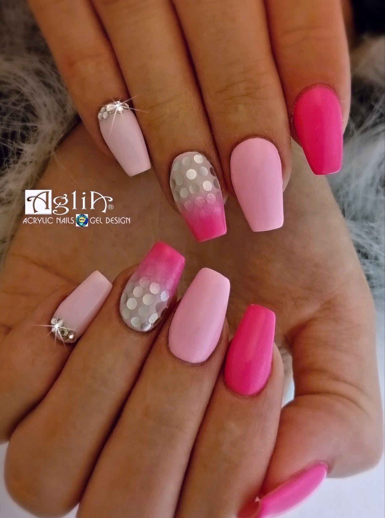 Acrylic Nails Gel Design Nail Art Nehty Ruzova