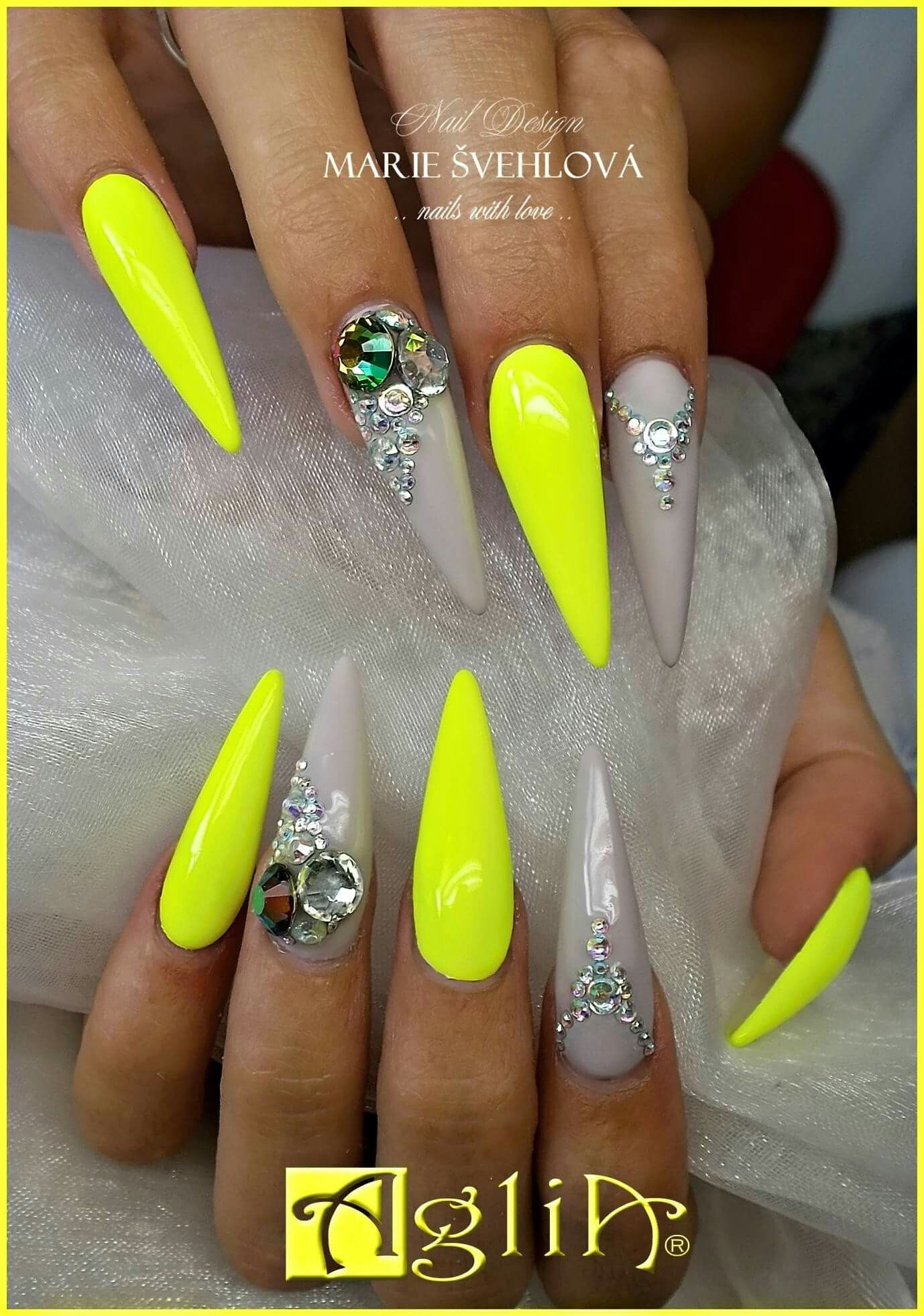 Acrylic Nails Gel Design Grey Yellow Nails Nehty