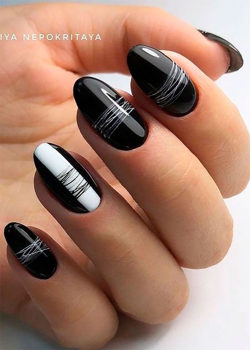 The Most Beautiful Black Winter Nails Ideas With Images Gelove Nehty Design Nehtu Nehet